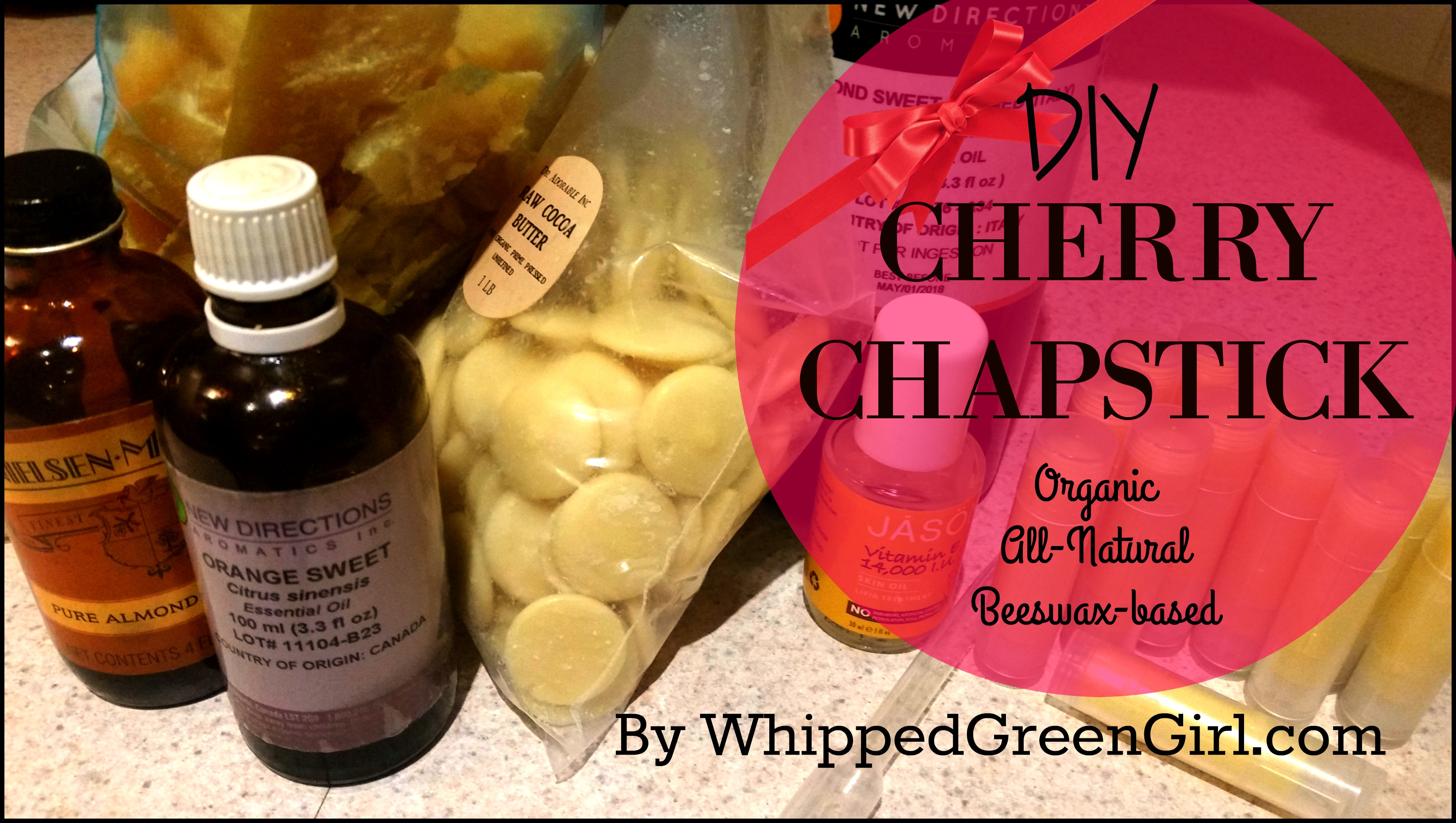 DIY Cherry Chapstick (By WhippedGreenGirl.com) #Lipgloss, #Organic, All-Natural, Beeswax-based