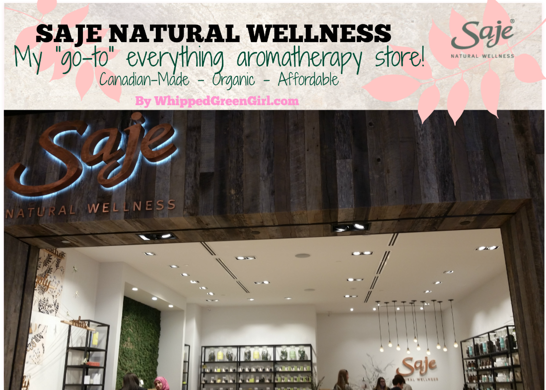 Saje Natural Wellness Review (by WhippedGreenGirl.com) An aromatherapy store experience like no others! 100% pure, blended skincare! #CanadianMade #Organic #EssentialOil #Skincare #GreenBeauty