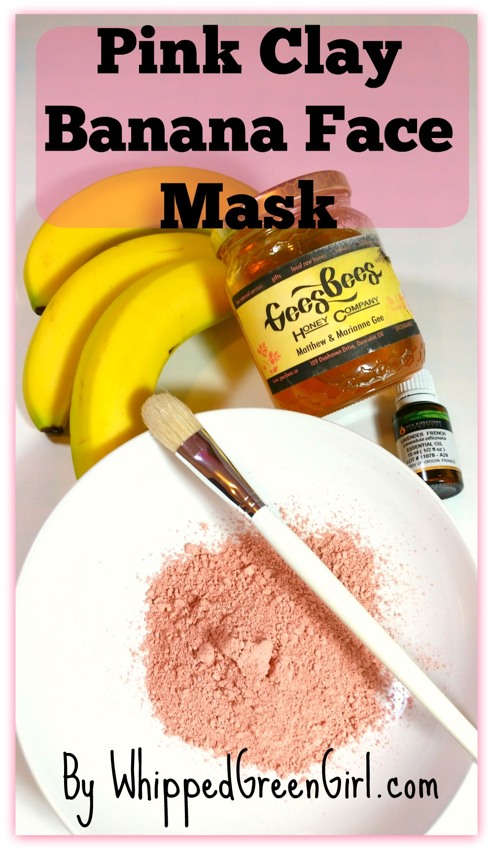 Pink Clay Banana Face Mask (by WhippedGreenGirl.com) #DIY #Skincare #organic