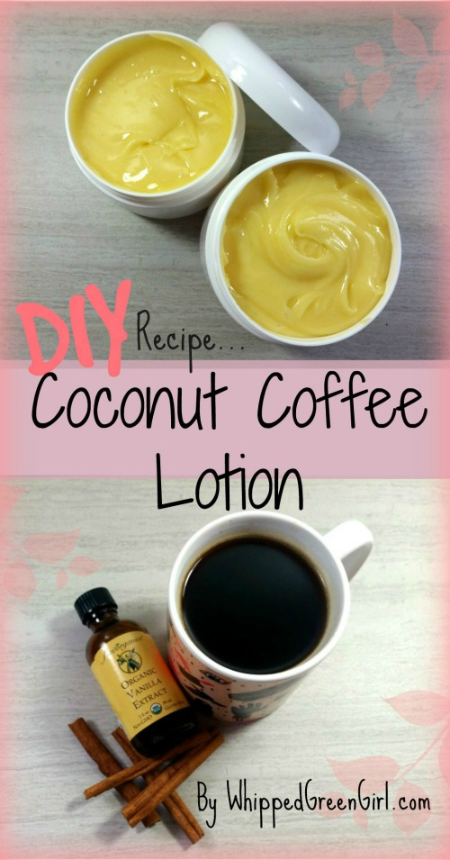 DIY Coconut Coffee Lotion (by WhippedGreenGirl.com) #DIY #Skincare #Recipe #CoconutOil #Coffee