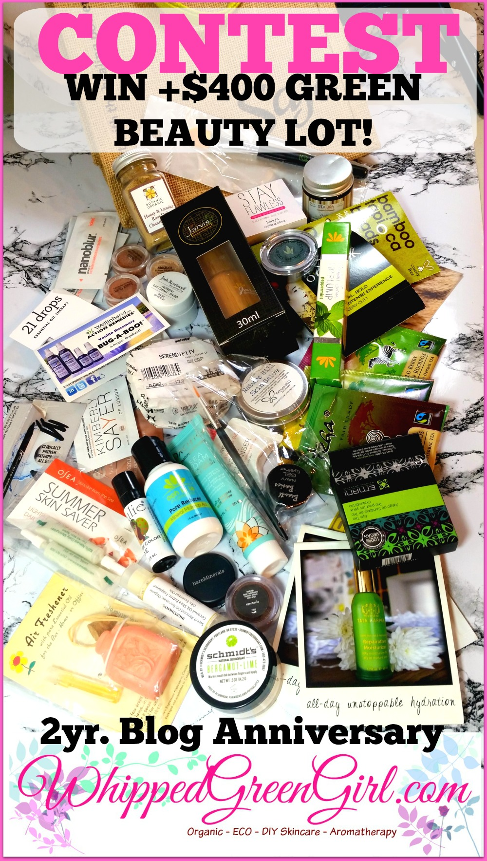 Two Year Blog Anniversary Contest - WHIPPEDGREENGIR.com (#Win +$400 of green #skincare products!) #CrueltyFree