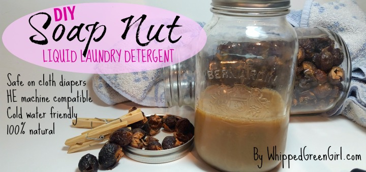 DIY Soap Nut Liquid Laundry Detergent Recipe (by WhippedGreenGirl.com) #soapnuts #soapberries - Safe on baby clothes and cloth diapers