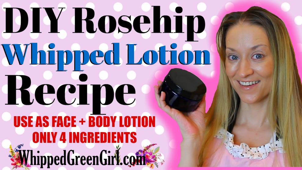 DIY Rosehip Oil Whipped Lotion Recipe (by WhippedGreenGirl.com) #whippedgreengirl #DIYSkincare #DIYSkin #OrganicSkincare #GreenBeauty #RoseHipOil #DIYBodyLotion #WhippedLotion