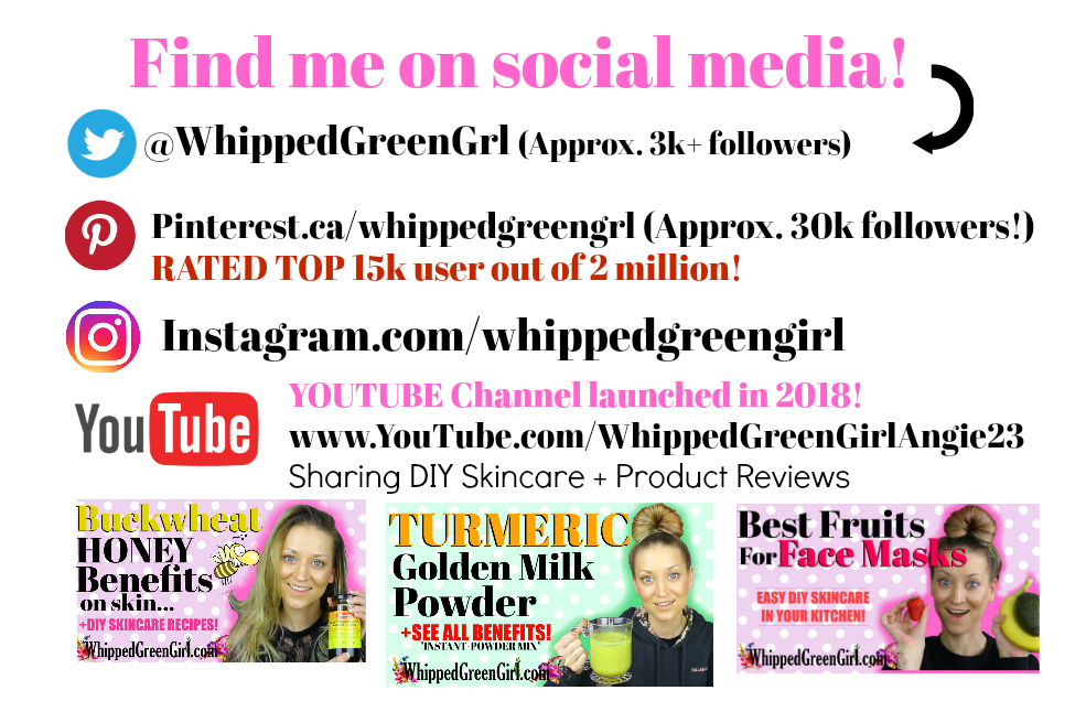 About WhippedGreenGirl.com (Organic skincare product review, aromatherapy shares & DIY Skincare shares! #GreenBeauty #DIYSkincare #WhippedGreenGirl - FIND ME ON SOCIAL MEDIA
